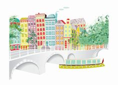 Amsterdam Across the canal  A4 cityscape Print by lauraamiss, €10.50