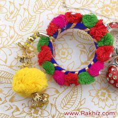 Pom Pom Crafted Bangle Lumba Rakhi Fabric Jewelry, Gold Jewelry, Jewelry Rings, Craft Stick Crafts, Diy Crafts, Buy Rakhi Online, Handmade Rakhi Designs, Terracota Jewellery, Diy Fashion Hacks