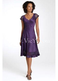 Elegant Violet Summer Pleated Flutter Sleeve Mother of the Bride Dress,