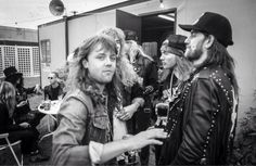 """Axl Rose, GNR, Lars Ulrich, Dave Mustaine and Lemmy Kilmister at backstage """"Monters of Rock"""", Donnington,UK,1988"""