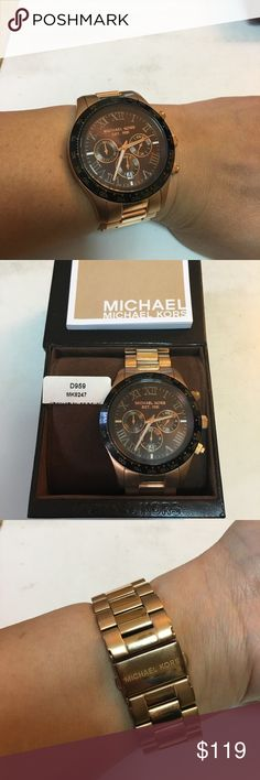 Michael Kors Layton Rose Gold Tone Roman Watch Unisex Michael Kors Rose Gold Tone Roman Numeral Watch MK-8747. A few light scuffs/scratches. Overall Very Good condition.   Original MK box, MK booklet and extra links included. Michael Kors Accessories Watches