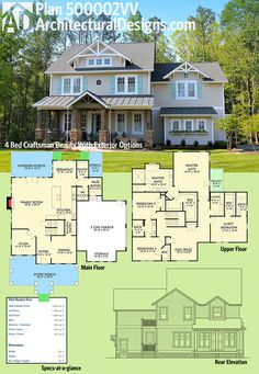 Architectural Designs 4 Bed House Plan 500002VV has an open floor plan on the main floor, and all the beds - plus the laundry for your convenience - are upstairs.