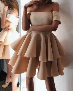 Cute A-line Off The Shoulder Ruffles Homecoming Dresses Short