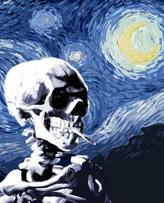 Skull with burning cigarette on a Starry Night Art Print