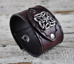 Celtic Traveller Leather Cuff by Northernleather on Etsy, $64.95