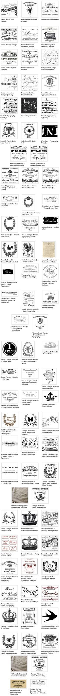 82 French typography printables.  Graphics Fairy.