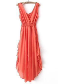 Orange Plain Irregular pleated V-neck Chiffon Dress