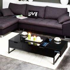 "Table basse rectangle ""Morio"" en MDF laqué noir"