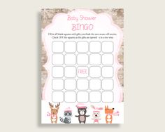 Empty Bingo Baby Shower Empty Bingo Forest Girl Baby Shower Empty Bingo Baby Shower Forest Girl Empty Bingo Pink White party ideas OBJUF #babyshowerparty #babyshowerinvites