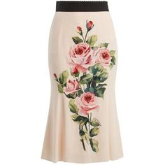 Dolce & Gabbana Rose-print stretch-silk midi skirt ($1,195) ❤ liked on Polyvore featuring skirts, pink print, high waist skirt, high-waist skirt, high rise skirts, high waisted knee length skirt and high waisted midi skirt