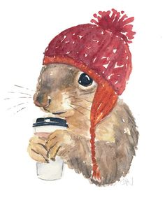 Original Squirrel Watercolor Coffee Squirrel by WaterInMyPaint
