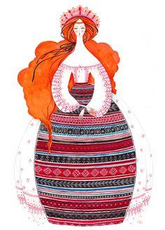 Illustration made by Madalina Andronic Enchanted Doll, Inca, Beautiful Fairies, Russian Art, Cute Illustration, Folk Art, Art Drawings, Fine Art Prints, Character Design