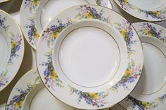 Vintage Arcadian Spring Glory Service for 8 Dinnerware Set 65 pcs Multicolor Floral Gold Rim USA Panchosporch Stuart Crystal, Team Gifts, Shabby Cottage, Vintage China, Vintage Home Decor, Dinnerware, Pink Blue, Etsy Shop, Plates
