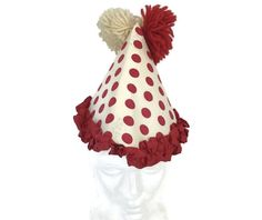 Vintage 1960s Halloween Clown Hat Adult Costume Paper With Yarn Pom Poms   Unbranded  Costume 73b7cfccb790