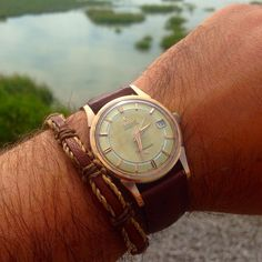 Superb Vintage OMEGA Constellation Railroad Dial In Rose Gold Circa 1950s