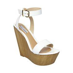 BEACHY WHITE PATENT womens sandal mid wood bottom - Steve Madden I want these in black.