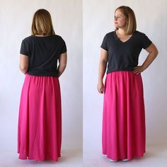 How to sew an easy everyday women's maxi skirt. Follow this simple sewing tutorial for the easiest, most comfortable maxi you'll ever make.