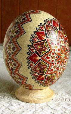 Real Ostrich Pysanka Traditional Pysanka by Ukrainian artist Oksana Bilous