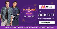 #Myntra BlockBuster Sale - Flat 80% OFF on Latest Fashion. Fine more offers at http://bit.ly/2ra4dmw