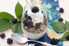 Kathy Smart's Blackberry Breakfast Parfait recipe with Holy Crap Cereal!