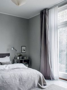Photographed by Chris Tonnesen for Elle Decoration Denmark Danish interior stylist Cille Grut& home is a mix of different shades of gray and beige colours also known as Gray Bedroom, Trendy Bedroom, Home Bedroom, Bedroom Decor, Bedroom Curtains, Bedroom Romantic, Bedroom Ideas, Curtains Grey Walls, Bedroom Inspo