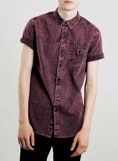 Berry Grunge Denim Short Sleeve Casual Shirt
