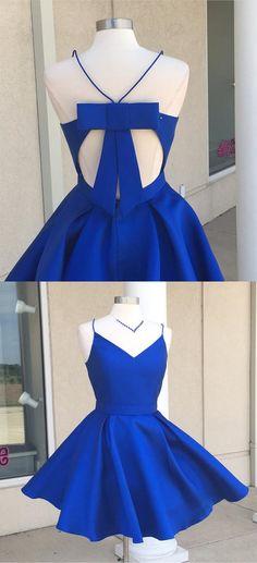 royal blue short homecoming dress prom dress, 2017 short homecoming dress, homecoming dress with bow