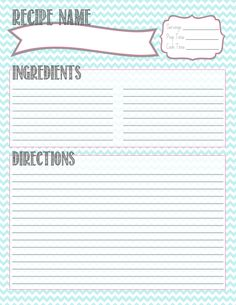 Printable Recipe Card. STARTING THIS FOR BENTLEE :)