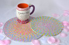 "Candy Land Trivets, 2 Handmade Hot Pads, Lovely Table Mats, Pink Easter Potholders, 8"" and 10"" Place Mats, Easter Decoration"