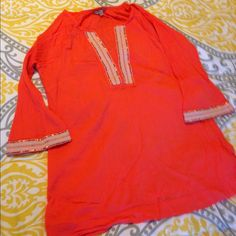 Athleta Coverup/tunic EUC Athleta bright coral coverup/tunic, with sequins and embroidered stitching detail. Worn maybe twice! NO TRADES! ***LOWEST PRICE LISTED!!!*** Athleta Tops Tunics