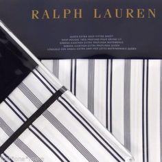 RALPH-LAUREN-Deauville-Blossom-QUEEN-FITTED-SHEET-PILLOWCASES-NAVY-BLUE-STRIPE