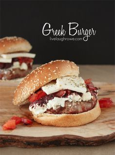 Greek Burger with livelaughrowe.com #CostanzosBakery rolls make it perfect