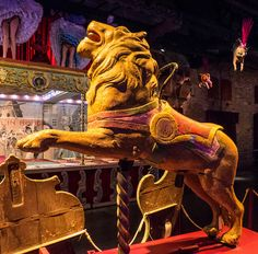 Carousel lion, Musee des Arts Forains Lion from a merry-go-round, in the museum of carnival arts in Paris.