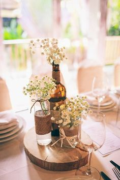 Wine Bottle Centerpieces, Wedding Table Decorations, Rowan, Special Day, Table Settings, Ideas, Party, Inspiration, Wedding Table