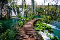 Plitvice Lakes, Croatia Waterfall Walkway by Michael Matti Places To Travel, Places To See, Places Around The World, Around The Worlds, Plitvice Lakes National Park, Croatia National Park, Les Cascades, Destination Voyage, Croatia Travel