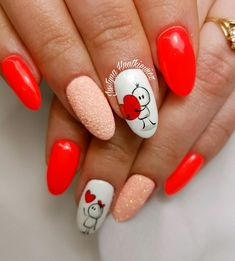 Nail Arts Fashion Designs Colors and Style Love Nails, Red Nails, Pretty Nails, Vanessa Nails, Romantic Nails, Valentine Nail Art, Fabulous Nails, Holiday Nails, Nail Manicure