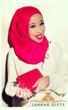 Sagaleeya in our Beautiful crimson red Luxe Hijab hijab. #Hijab #muslimfashion www.JannahGifts.com shop our latest hijab fashions the best deals