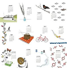 SALE: 50% OFF 2012 calendar - Illustrated Wall Calendar.