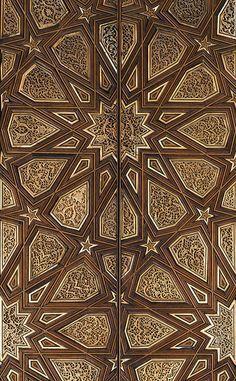 Pair of minbar doors, Mamluk period ca. Islamic Art Pattern, Arabic Pattern, Pattern Art, Islamic Architecture, Art And Architecture, Arabesque, Moorish, Wooden Doors, Door Design