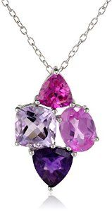 "Sterling Silver Amethyst and Created Pink Sapphire Cluster Pendant Necklace, 18"" available at joyfulcrown.com"