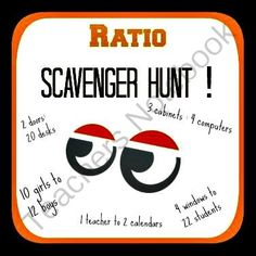 Ratio Scavenger Hunt from Mathematic Fanatic on TeachersNotebook.com - (2 pages) - Get your kids active and excited about ratios with the Ratio Scavenger Hunt!