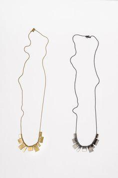 Collana lunga oro piazze Fan oro collana Collana di CONTOURstudio