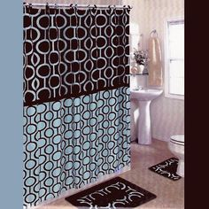 BROWN and BLUE 15-Piece Bathroom Set: 2-Rugs/Mats, 1-Fabric Shower Curtain, 12-Fabric Covered Rings. Retro/Beads/Chain/Pat... $19.94