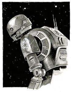 Star Wars  Rogue One  K-2SO original ink drawing by Mygrimmbrother