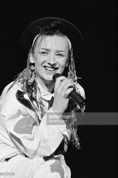 Singer Boy George (right) performing with British new romantic group Culture Club, Washington DC, August 1983.