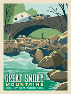 American National Parks, National Parks Map, Parc National, Carlsbad Caverns National Park, Smoky Mountain National Park, Voyage Usa, Picnic Area, Art Graphique, Great Smoky Mountains