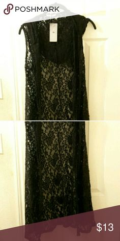 Cute Lacey Vest Black Long Lace Vest, can be used as a cute swimsuit cover-up Jackets & Coats Vests