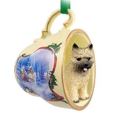 Cairn Terrier Red Dog Decorative Sleigh Tea Cup Ornament