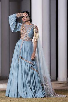 Ice blue hand embroidered blouse with tulle dupatta lehenga set. Crepe Care: Dry Clean Only Indian Wedding Gowns, Pakistani Bridal Wear, Indian Gowns, Indian Attire, Indian Outfits, Party Wear Lehenga, Bridal Lehenga Choli, Lehnga Dress, Anarkali Gown