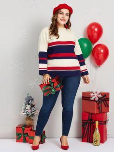 14bd569b8f4 Christmas Color Block Stripe Mid-Length Plus Size Women s Sweater Christmas  Colors